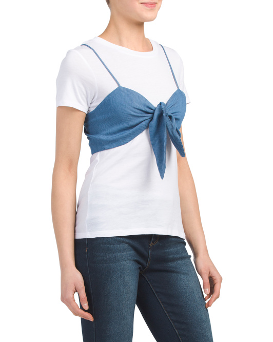 Juniors Twofer Tee With Bow