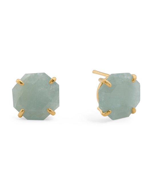 18k Gold Plated Sterling Silver 13mm Aquamarine Earrings