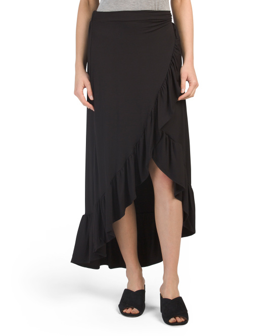 Made In USA Ruffle Wrap Maxi Skirt