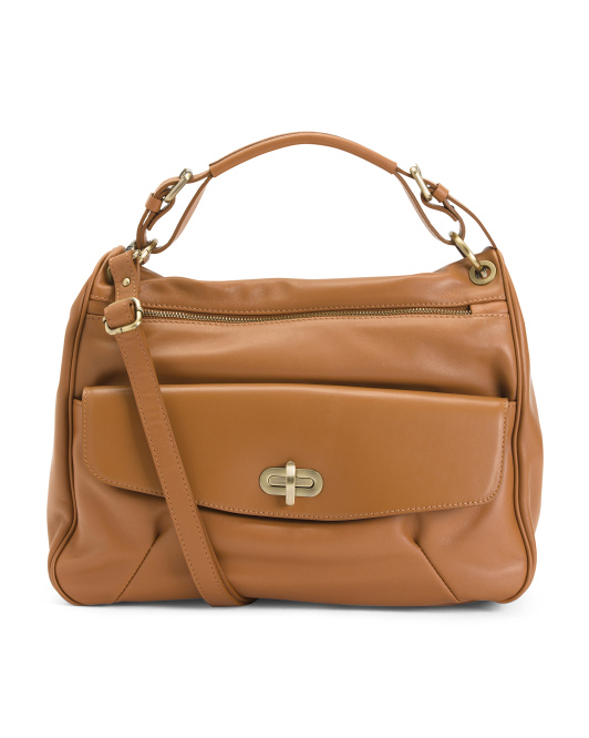 Made In Italy Double Entry Leather Satchel