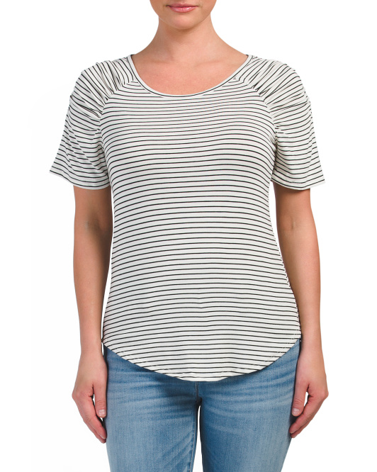 Juniors Made In USA Striped Tee