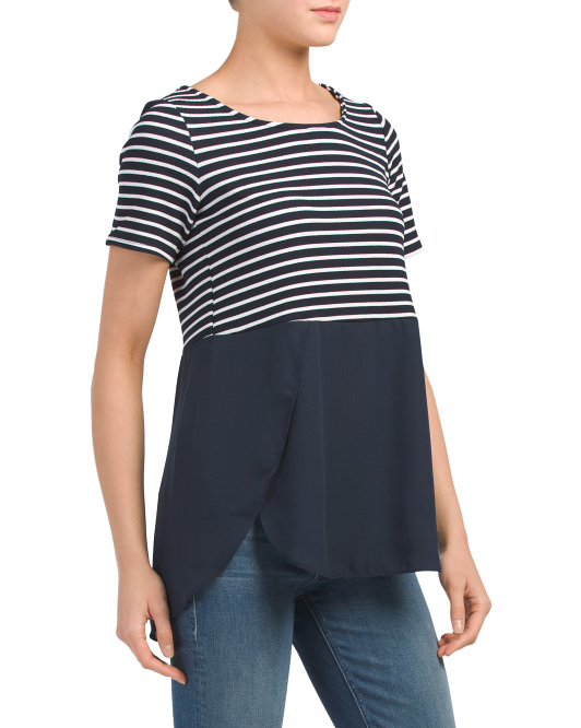 Made In USA Striped Hi-lo Crepe Hem Top