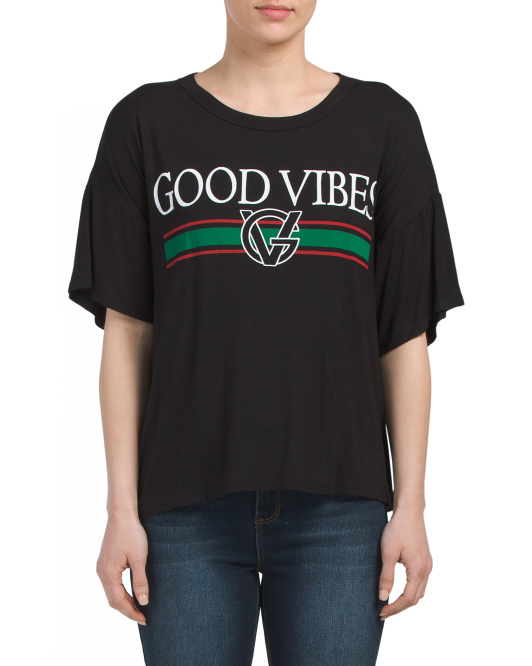 Juniors Made In USA Good Vibes Tee