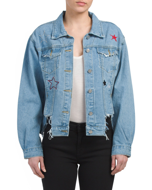 Juniors Embroidered Denim Jacket