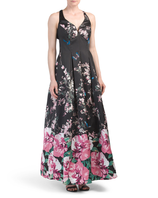 Cross Back Printed Ballgown