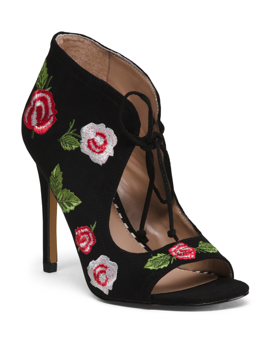 Lace Up Floral Peep Toe Pumps