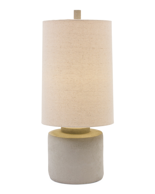24.25in Cylinder Cement Table Lamp
