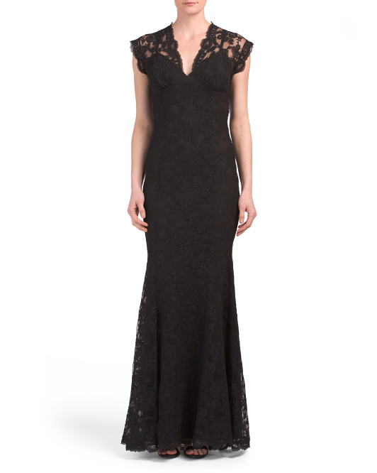 Made In USA Illusion Lace Gown