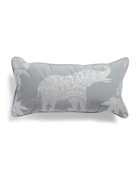 14x24 Indoor Outdoor Elephant Pattern Pillow