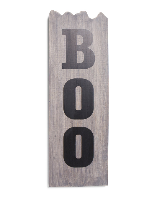 Made In India 8x24in Wooden Boo Halloween Decor