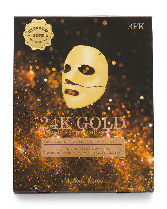 Made In Korea 3pk Gold Hydrogel Masks