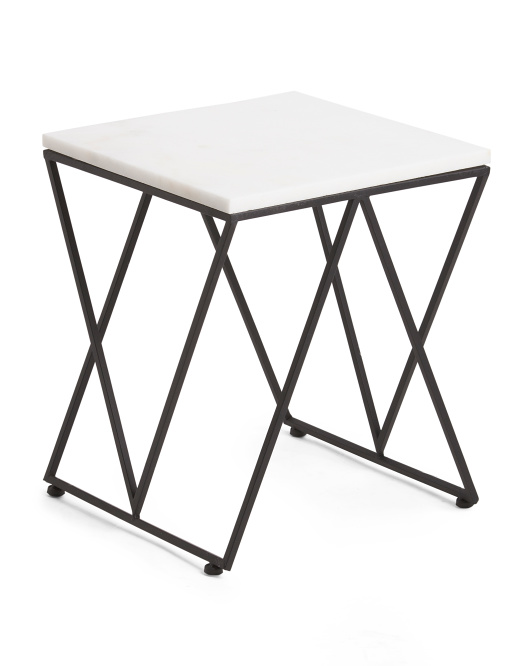 Metal & Marble Accent Table