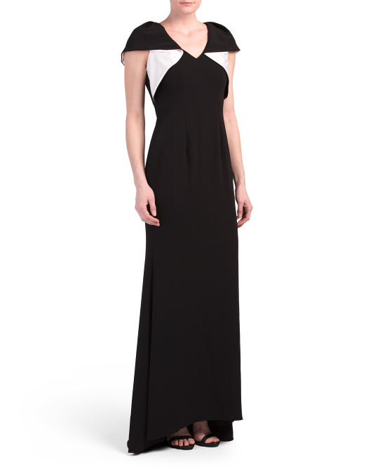 V Neck Stretch Supple Crepe Gown