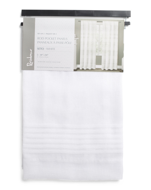 38x84 Set Of 2 Striped Sheer Curtains