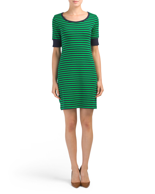 Elbow Sleeve Striped Dress With Cuffs