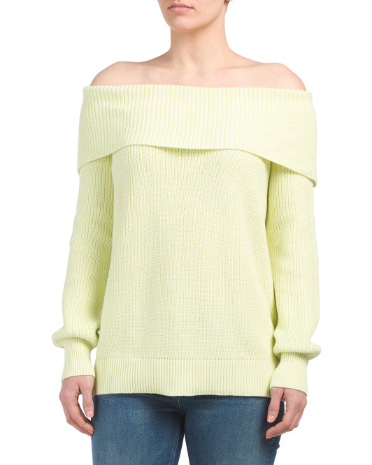 Shaker Stitch Off The Shoulder Sweater
