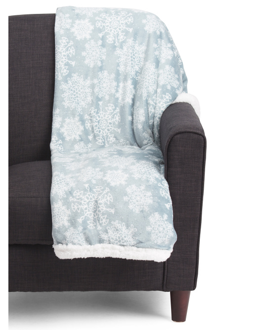 Snowflake Plush Sherpa Throw
