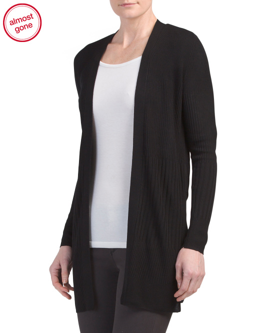 Ribbed Deep Slit Duster Cardigan