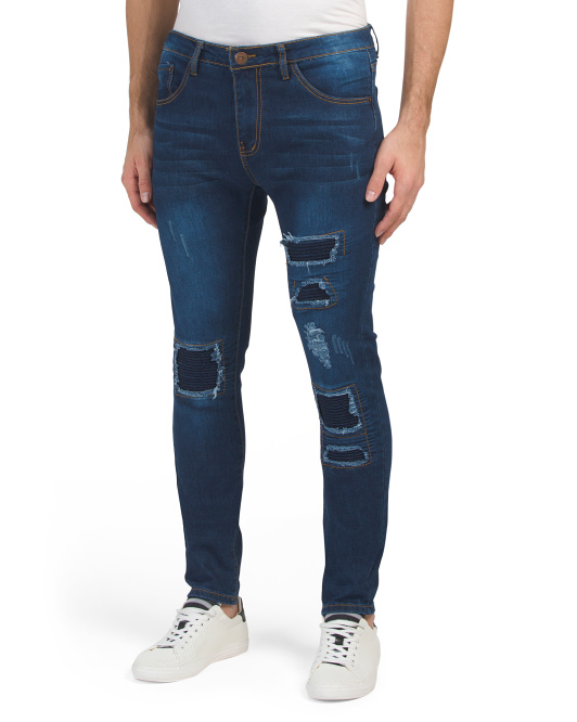 Slim Stretch Destructed Patch Jeans