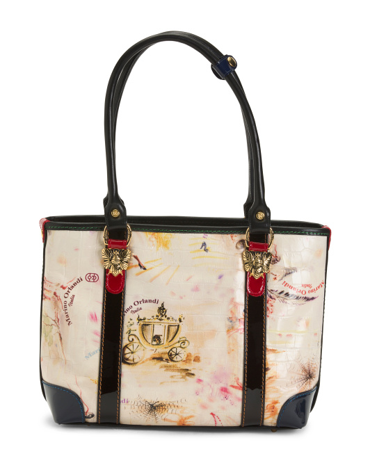 Made In Italy Leather Patterned Tote