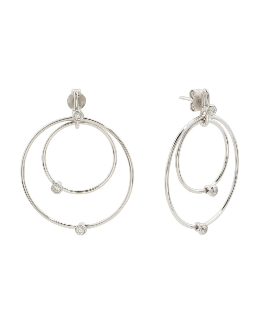 Made In Italy Sterling Silver Cz Graduated Circle Earrings