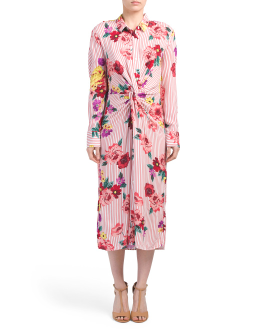 Juniors Floral Knotted Midi Dress