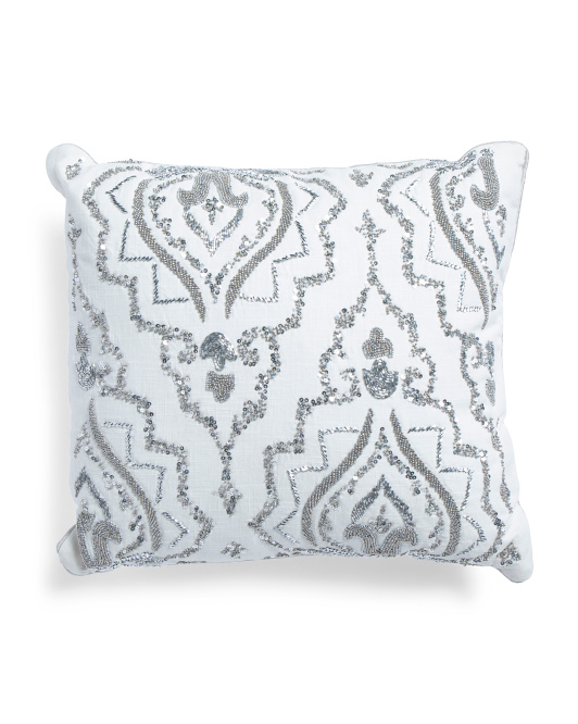 18x20 Made In India Beaded Pillow