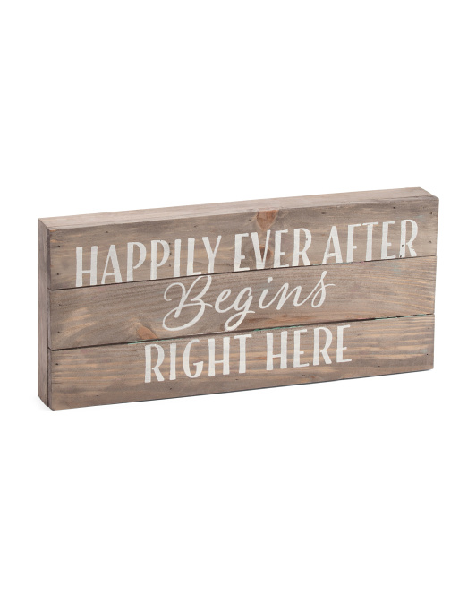 7x16 Happily Ever After Wood Wall Art