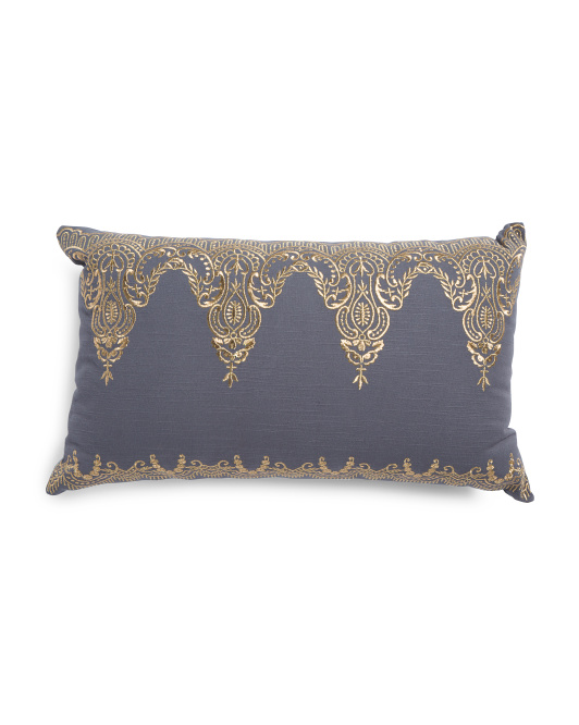 Made In India 12x20 Embroidered Pillow
