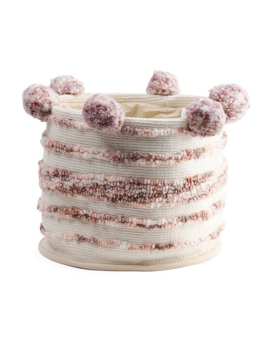 Made In India Woven Storage Basket With Chunky Poms