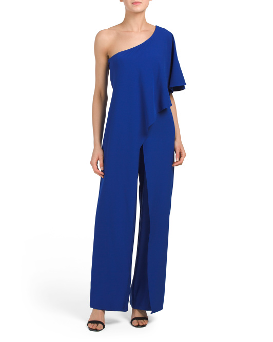 Made In USA One Shoulder Ruffle Jumpsuit