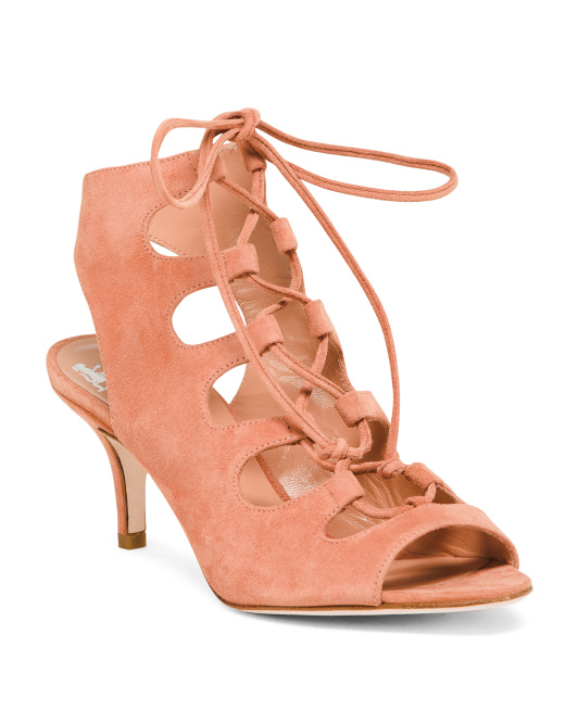 Made In Italy Suede Lace Up Sandals