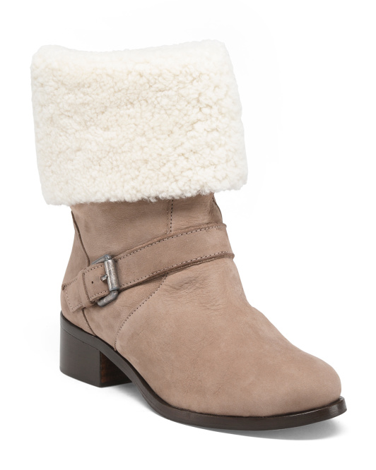 Made In Spain Shearling Trimmed Booties