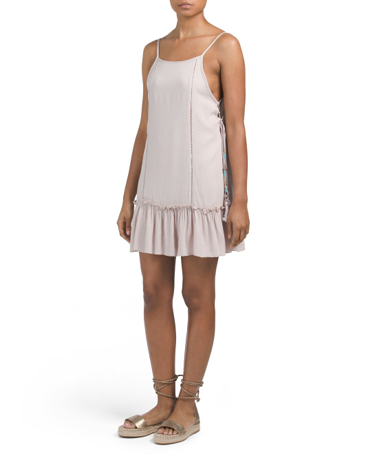 Juniors Made In USA Gauze Lace Up Dress