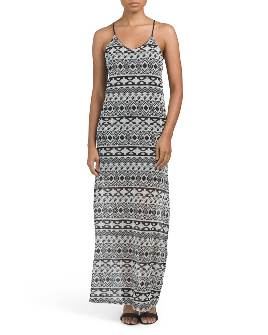 Juniors Aztec Printed Maxi Dress