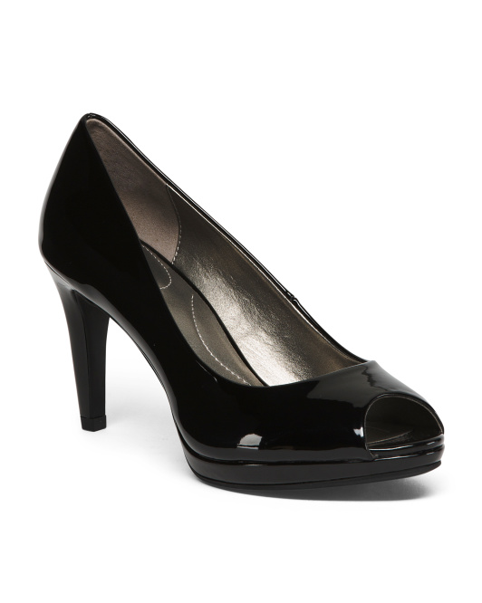 Patent Peep Toe Pumps