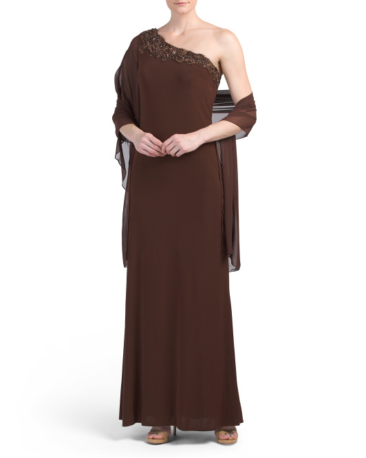 One Shoulder Illusion Sleeve Gown