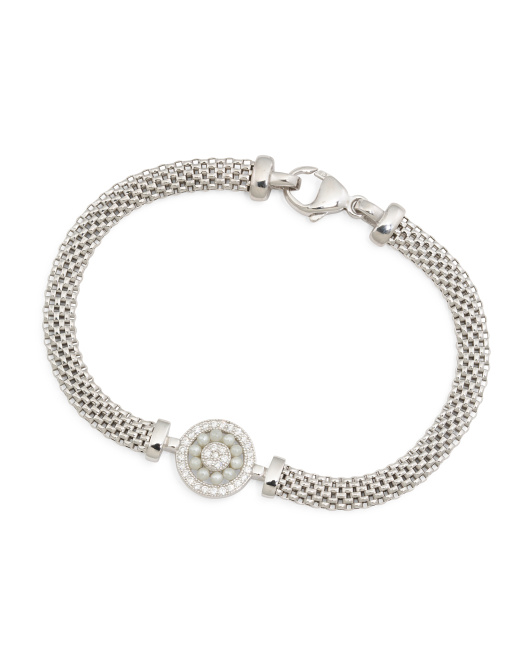 Made In Italy Sterling Silver Pearl And Cubic Zirconia Mesh Bracelet