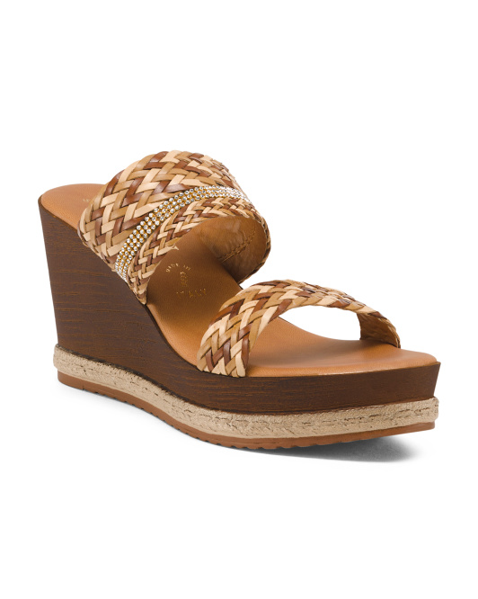 Made In Italy Weave Natural Wedges