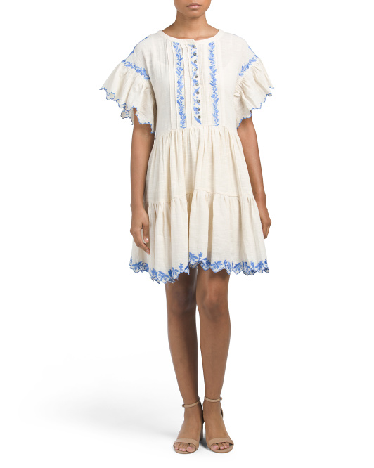 Santiago Embroidered Mini Dress