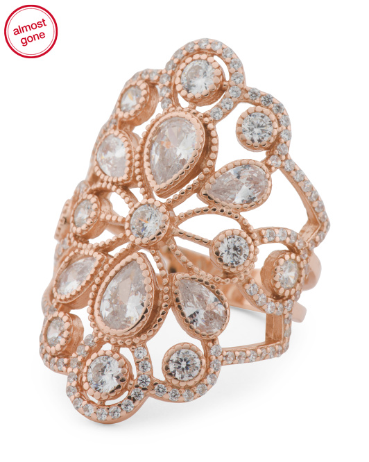 14k Rose Gold Plated Sterling Silver Cz Deco Ring