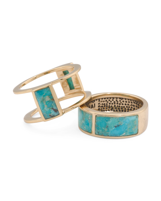 Made In Thailand Arizona Turquoise And Bronze 2 Piece Ring