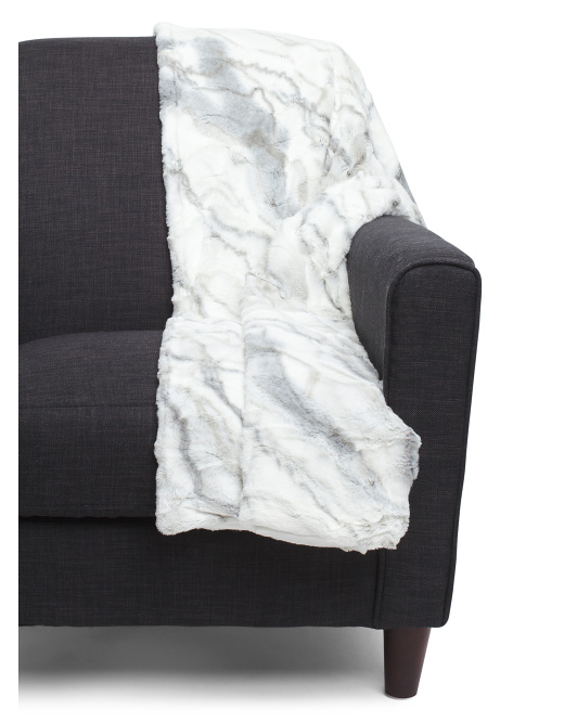 Marble Faux Fur Throw