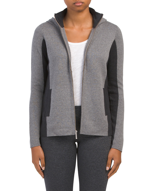 Color Block Hooded Zip Front Cardigan