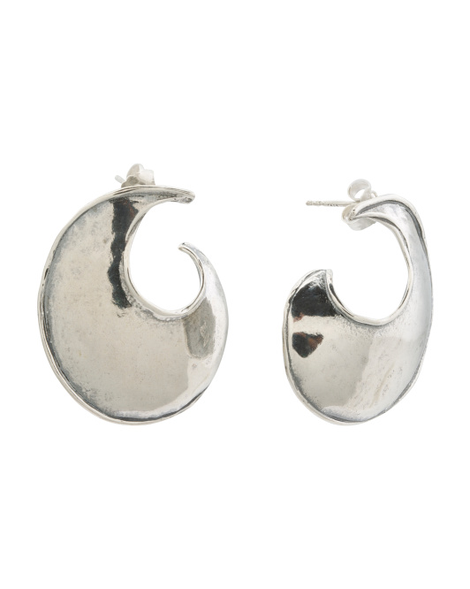 Made In Israel Sterling Silver Sculpted Earrings