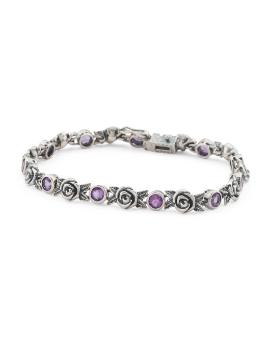 Made In Israel Sterling Silver Amethyst Rose Tennis Bracelet