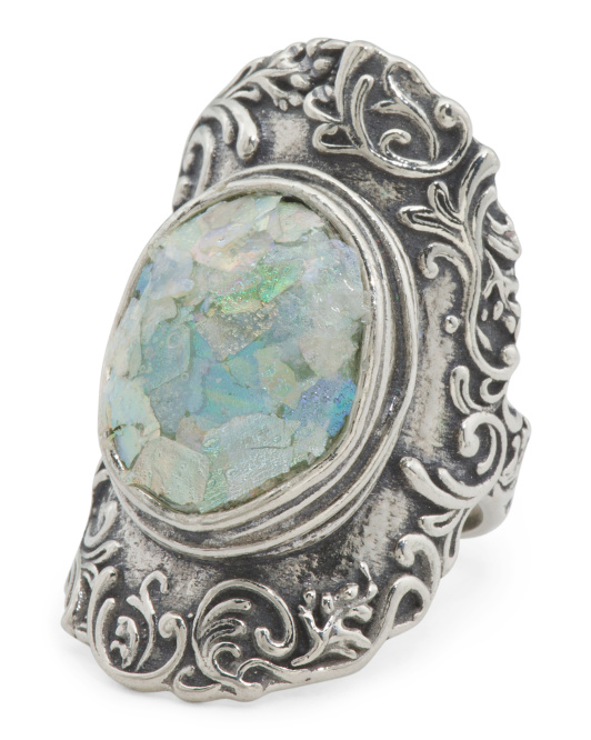 Made In Israel Sterling Silver Roman Glass Lace Ring