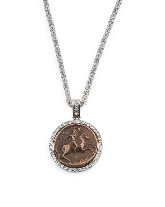 Made In Italy Silver Plated Bronze Coin Pendant With CZ