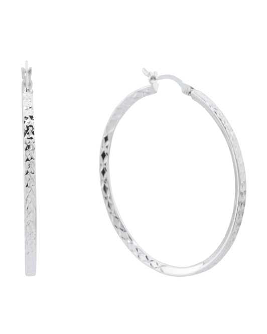 Made In Thailand Sterling Silver 40mm Textured Hoop Earrings