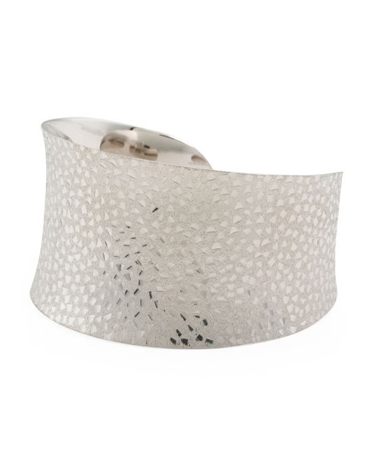 Made In Thailand Sterling Silver Textured Cuff Bracelet